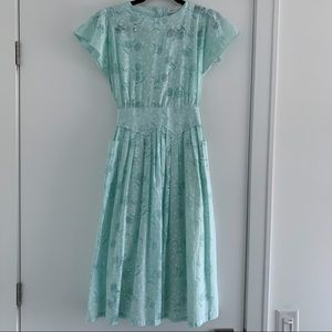 Vintage 1980's Turquoise Print Day Dress - Size S